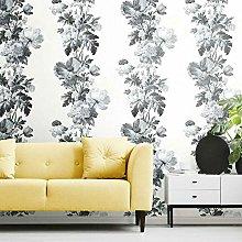 Self Adhesive Wallpaper Floral Watercolour Stripes