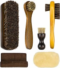 SelfTek 6Pack Shoe Brush Set Horsehair Bristles