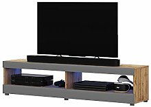 Selsey TV lowboard, Matt Oak/Grey high Gloss, 100