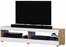 Selsey TV lowboard, Matt Oak/White high Gloss, 100