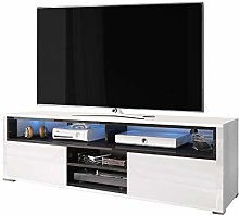 Selsey TV lowboard, White/Black, 137 x 33 x 42,5