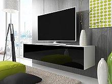 Selsey TV lowboard, White matt/Black high Gloss,