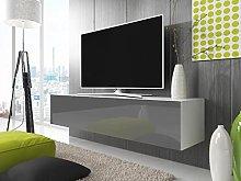 Selsey TV lowboard, White matt/Grey high Gloss,