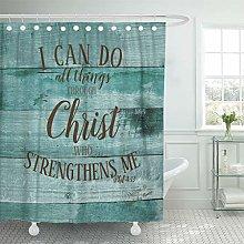 Semtomn Shower Curtain Blue Positive Modern Rustic