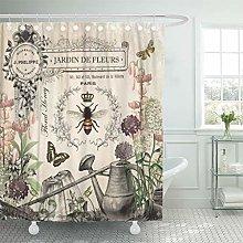 Semtomn Shower Curtain Modern French Bee Garden