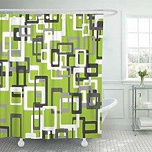 Semtomn Shower Curtain Modern Lime Green Black