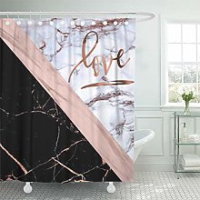 Semtomn Shower Curtain Pink White Elegant Rose