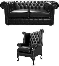 Senath Chesterfield 2 Piece Leather Sofa Set