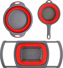 Senmubery 3-Packs Red Kitchen Collapsible Colander
