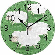 SENNSEE Animal White Sheep Green Wall Clock