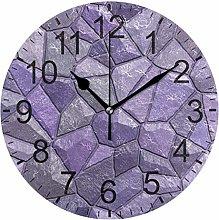 SENNSEE Stones Purple Geometric Texture Wall Clock