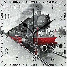SENNSEE Wall Clock Railway Train Square Decorative