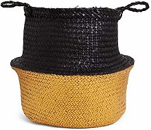 SENZA 24184 Belly Basket Black/Gold, Seagrass One