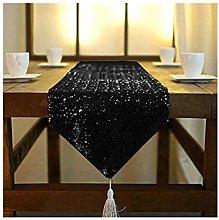 Sequin-Table-Runner Black Tassel 14x108 Inches