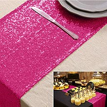 Sequin-Table-Runner Hot Pink 12x108 Inches Linen
