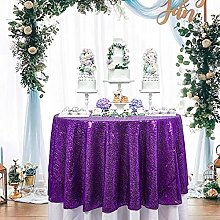 Sequin Tablecloth 48 Inch Purple Sequin Table