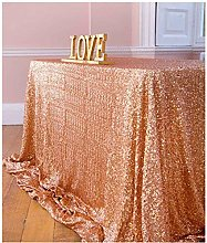 "Sequin Tablecloth 50""x72"" Rose Gold"
