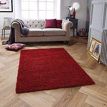 Serene Red Rectangle Plain/Nearly Plain Rug