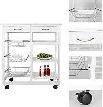 Serving Cart Kitchen Trolley on Wheels Storage