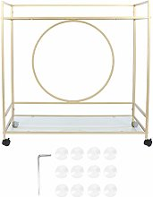 Serving Trolley 2 Tier Rolling Utility Cart Gold