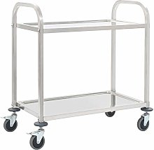 Serving Trolley,2 Tier Stainless Steel Kitchen