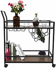 Serving Trolley,2Tier Retro Rolling Utility Cart
