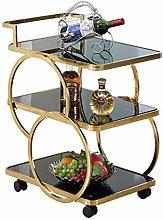 Serving Trolley, Round, Metal, Kitchen Cart, Tea
