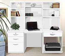 SET-14-IN-WH White Computer Table Desk With Shelf