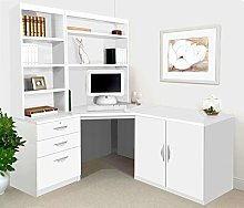 SET-19-IN-WH White Computer Table Desk Hutch