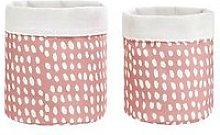 Set 2 Earthtones Dots Fabric Basket