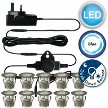 Set of 10 - 30mm Stainless Steel IP67 Blue LED