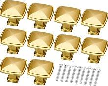 Set of 10 Drawer Knobs, Golden Aluminum Alloy