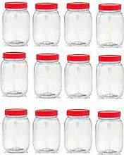 Set of 12 1000ml Red Top Plastic Food Storage
