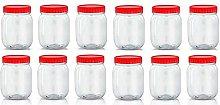 Set of 12 500ml Red Top Plastic Food Storage
