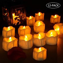 Set of 12 LED Candles, Flickering Flame Battery