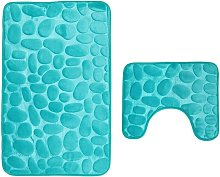 Set of 2 Anti Slip Bath Mat and Pedestal Rug for