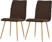 Set of 2 Armless Dining Chairs Metal Frame Linen