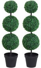 Set of 2 Artificial Trees Plants 3 Balls w/ Black
