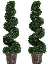 Set of 2 Artificial Trees Plants Spiral Wavy w/