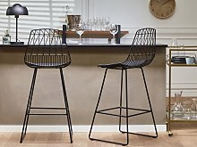 Set of 2 Bar Chairs Black Steel Frame Faux Leather