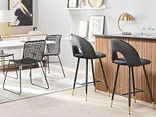 Set of 2 Bar Chairs Coral Red Velvet Black Steel