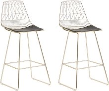Set of 2 Bar Chairs Counter Height PU Leather Seat