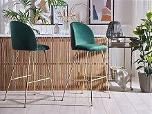 Set of 2 Bar Chairs Green Velvet Upholstery Golden