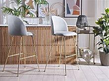 Set of 2 Bar Chairs Grey Velvet Upholstery Golden