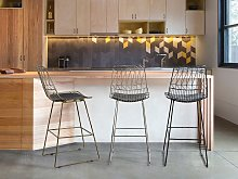 Set of 2 Bar Chairs Silver Steel Frame Faux