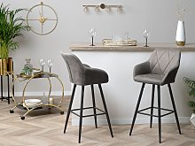 Set of 2 Bar Stool Grey Fabric Upholstered With Arms Quilted Backrest Black Metal Legs