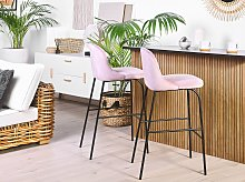 Set of 2 Bar Stool Pink Velvet Upholstery Black