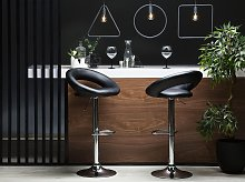 Set of 2 Bar Stools Black Faux Leather Upholstery