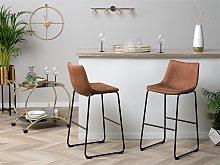 Set of 2 Bar Stools Brown Fabric Upholstery Black
