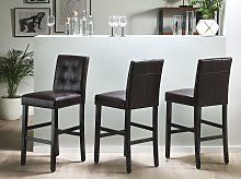 Set of 2 Bar Stools Brown Faux Leather Upholstery